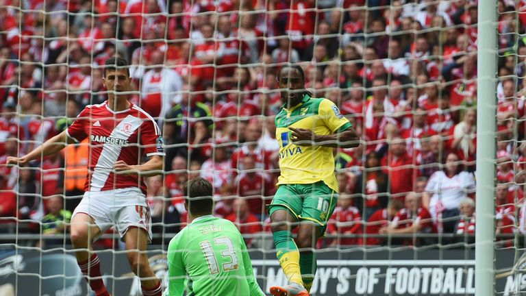 Cameron Jerome slots the ball past Boro 'keeper Dimitrios Konstantopoulos for the opener