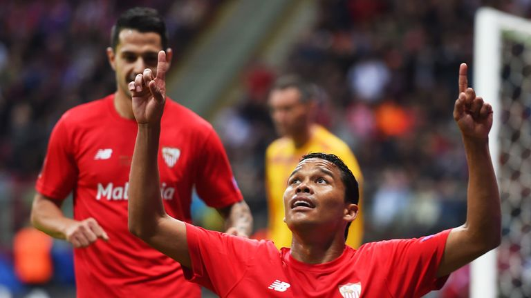 Bacca: Scored twice to send Sevilla to victory