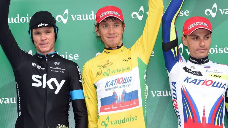 Chris Froome had to settle for third place behind Ilnur Zakarin, centre, and Simon Spilak, right