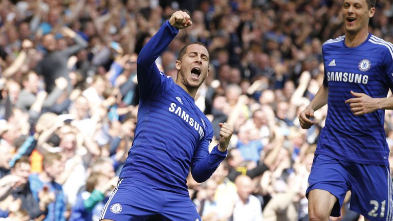 Eden Hazard celebrates after successfully following up his missed penalty against Crystal Palace