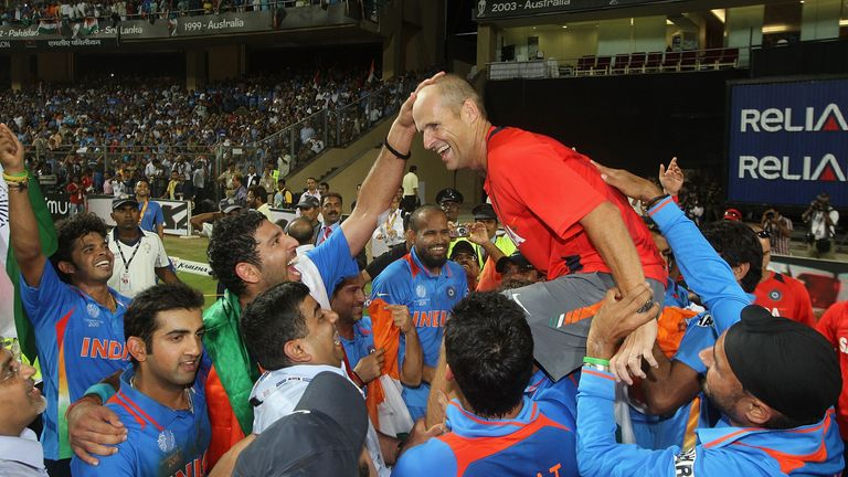 Gary Kirsten is held aloft by the Indian team after their World Cup win