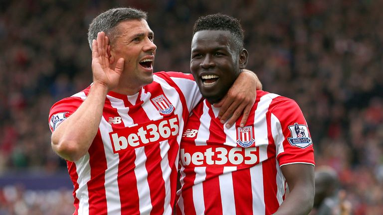 Jonathan Walters (L) and Mame Biram Diouf were all smiles in the win over Liverpool