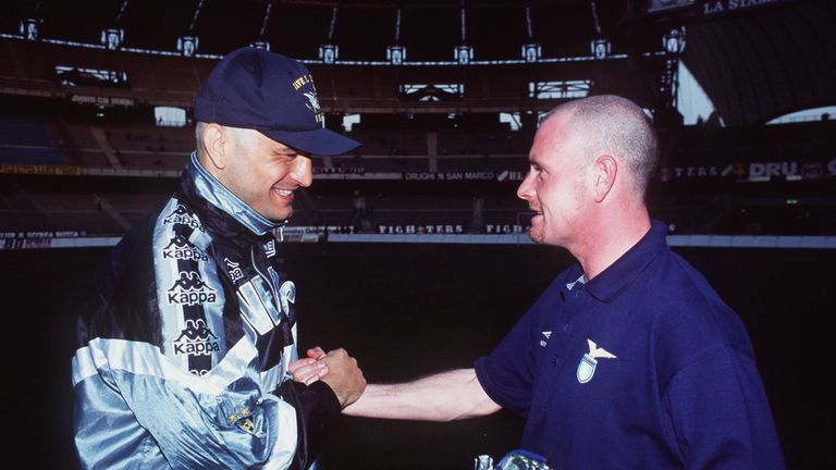 Fabrizio Ravanelli with Paul Gascoigne ahead of a 1995 Coppa Italia semi-final