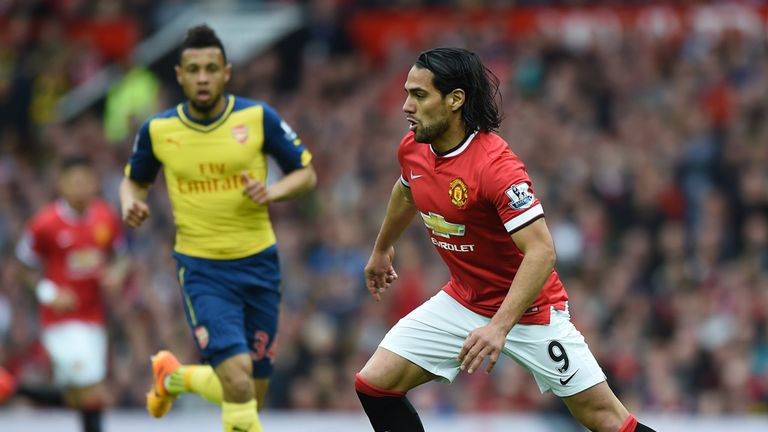 Radamel Falcao in action for Manchester United against Arsenal last season