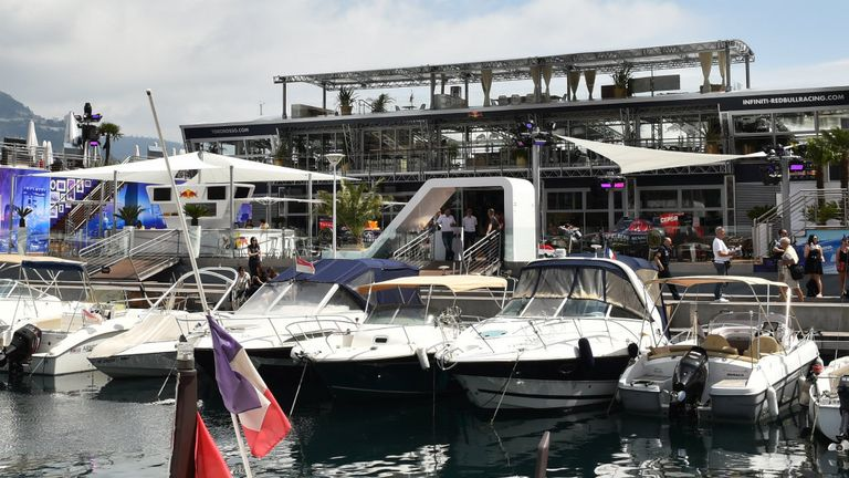 Red Bull's 'floating' energy station in the Monte Carlo harbour