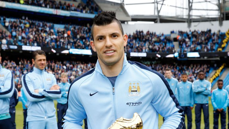 Sergio Aguero: Was presented with the trophy following City's win over Southampton