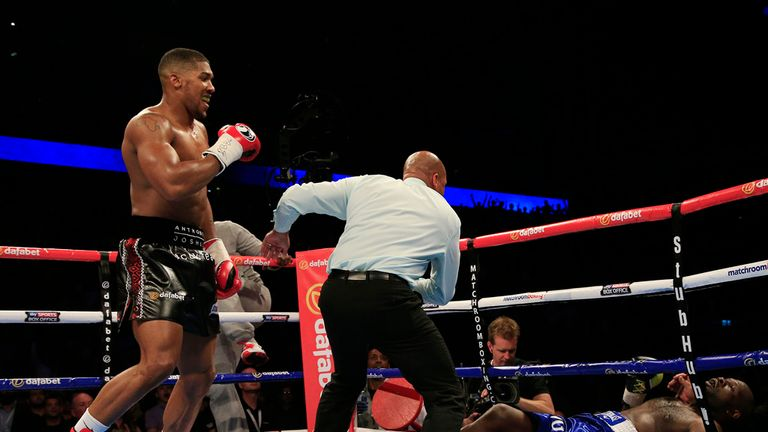 Anthony Joshua knocks down Kevin Johnson in his last fight in May at London's O2 Arena