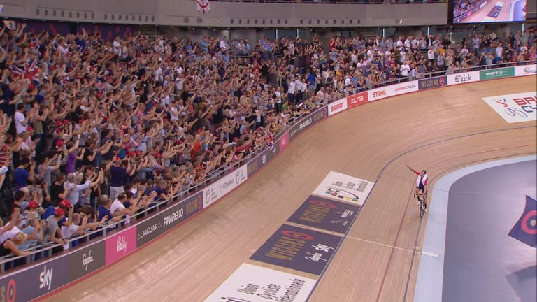 Sir Bradley Wiggins was roared on by a sell-out crowd