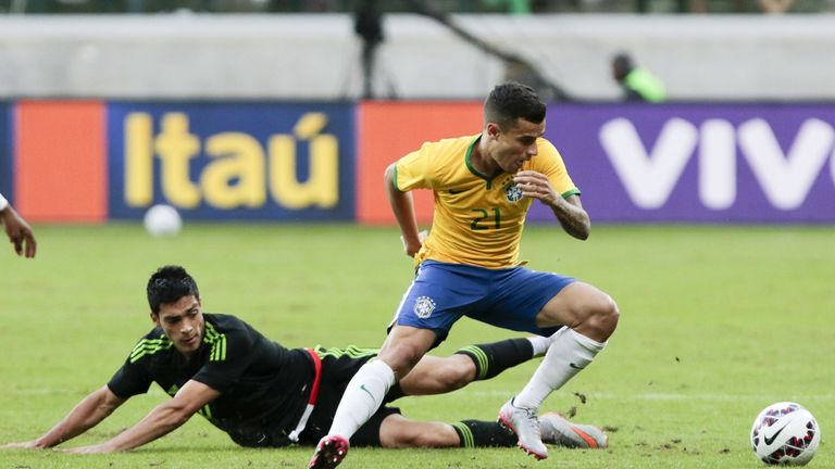 Philippe Coutinho scores his first Brazil goal