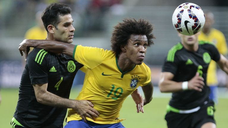 Willian in action in Brazil's recent friendly against Mexico