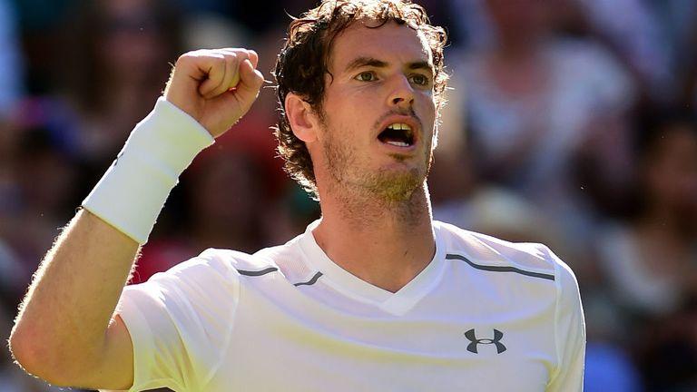 Andy Murray celebrates winning his against Mikhail Kukushkin