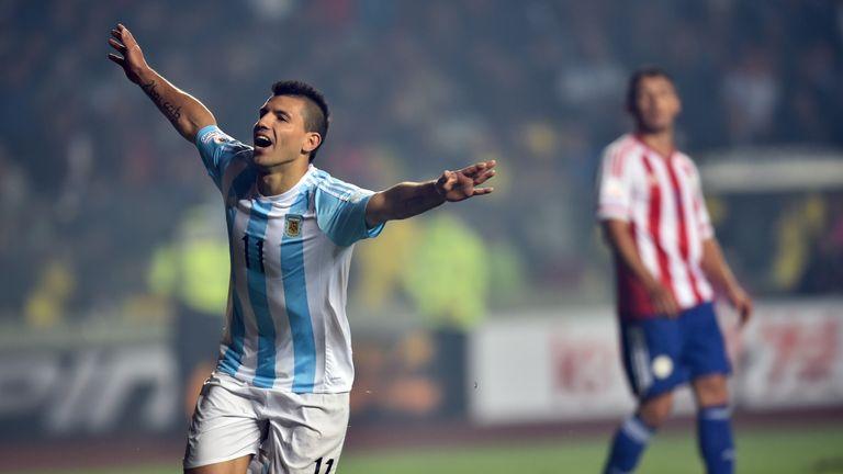 Argentina's forward Sergio Aguero nets his third of the tournament