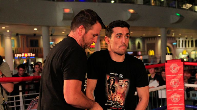 Joe Gallagher (left) hopes Anthony Crolla (right) can stay cool