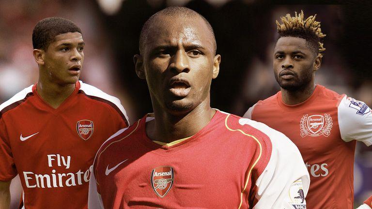 Patrick Vieira (middle) left Arsenal 10 years ago