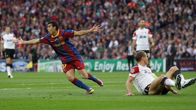 Pedro scored against Manchester United in the 2011 Champions League final