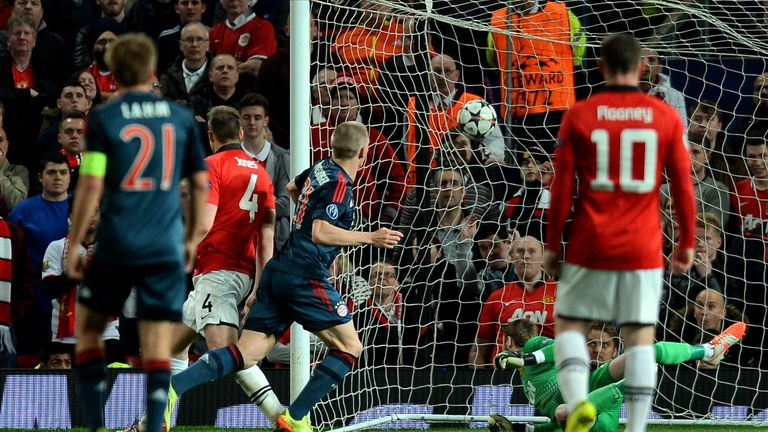 Schweinsteiger scoring Bayern's equaliser at Old Trafford in March 2014