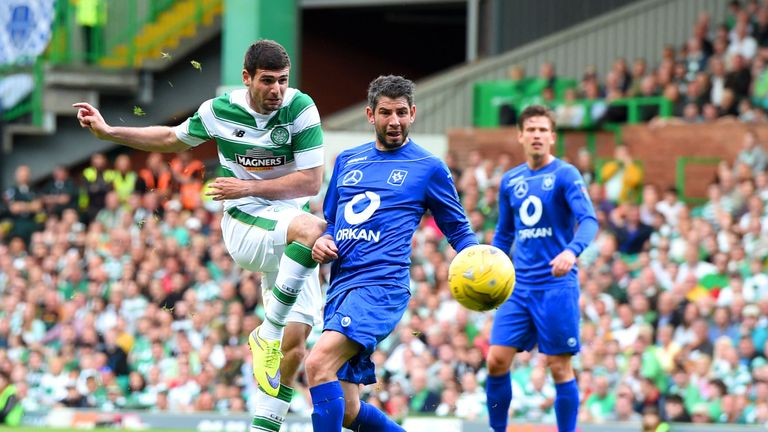 Nadir Ciftci takes a shot in the first half at Parkhead