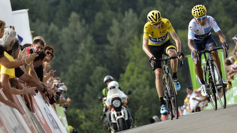 Froome caught back up with Quintana and crossed the line just in front of him