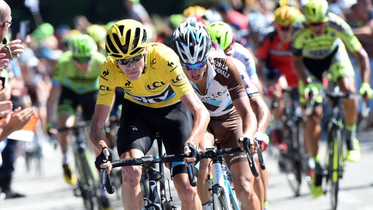 Chris Froome finished eighth on the day after leading the peloton up the final climb