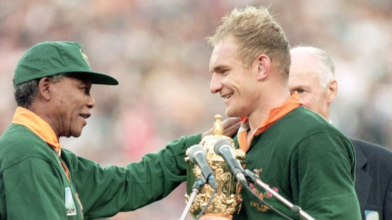 Nelson Mandela having the World Cup to Francois Pienaar is potentially the tournament's most iconic moment
