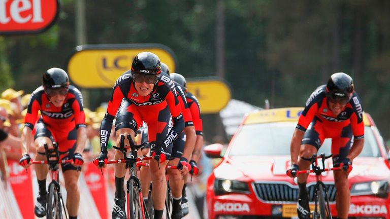 BMC Racing won the satge nine team time trial by just 0.62 seconds