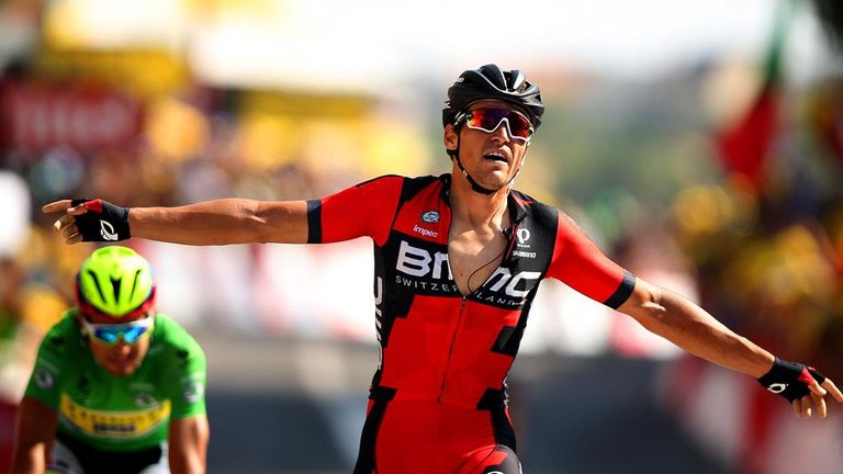 Greg van Avermaet pipped Peter Sagan to victory on stage 13