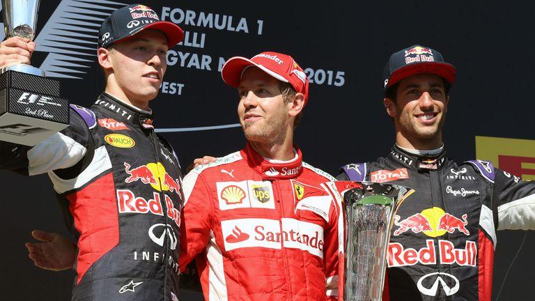 Daniil Kyvat, Sebastian Vettel and Daniel Ricciardo on the podium