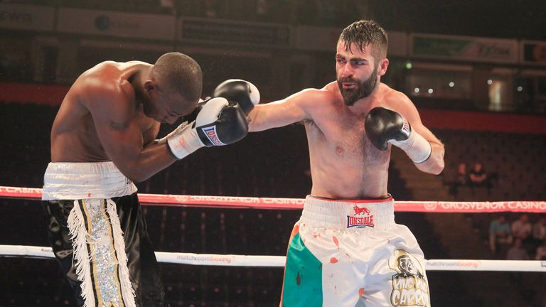 Jono Carroll (right) had to go the full six rounds to see of Barrington Brown.