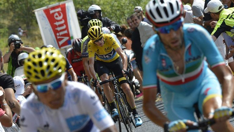 Froome was initially dropped by Nairo Quintana (left) and Vincenzo Nibali (right) on the final climb