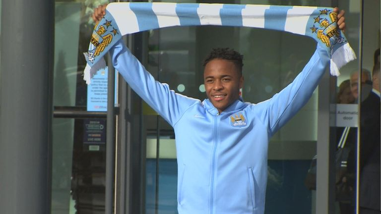 Raheem Sterling arrives after signing for Manchester City (Pic courtesy of City TV)