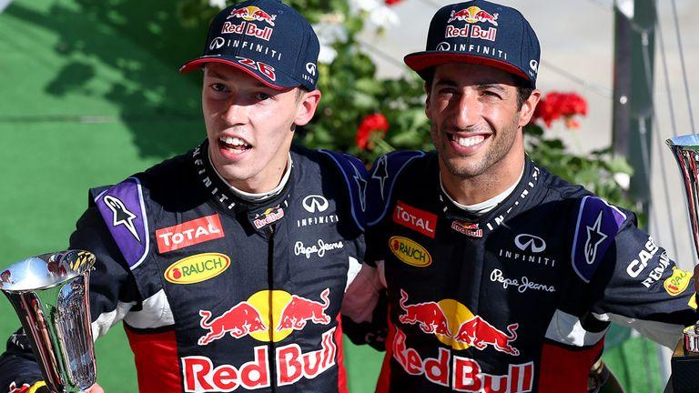 Daniil Kvyat and Daniel Ricciardo on the Hungarian GP podium