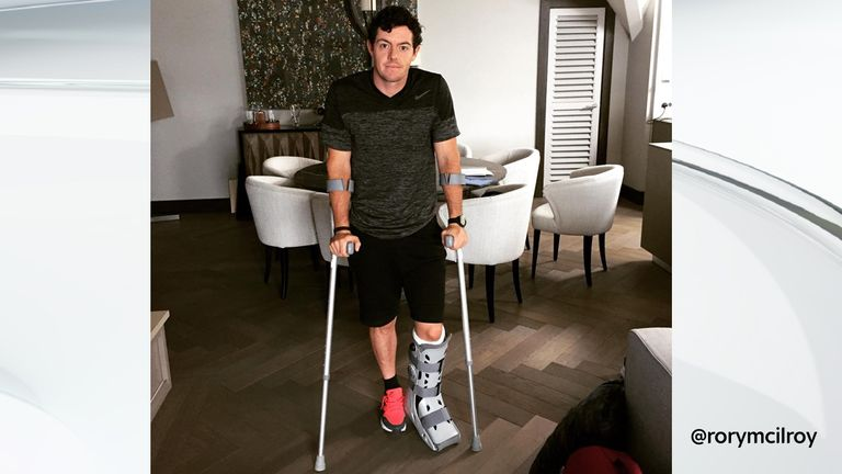 McIlroy posted this image on Instagram after rupturing his ankle ligaments playing football