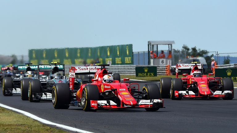 Both Ferraris surged ahead of the Mercedes' on the first lap