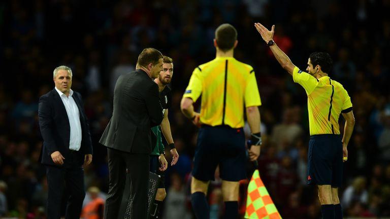 West Ham boss Slaven Bilic is sent off by referee Adrien Jaccottet