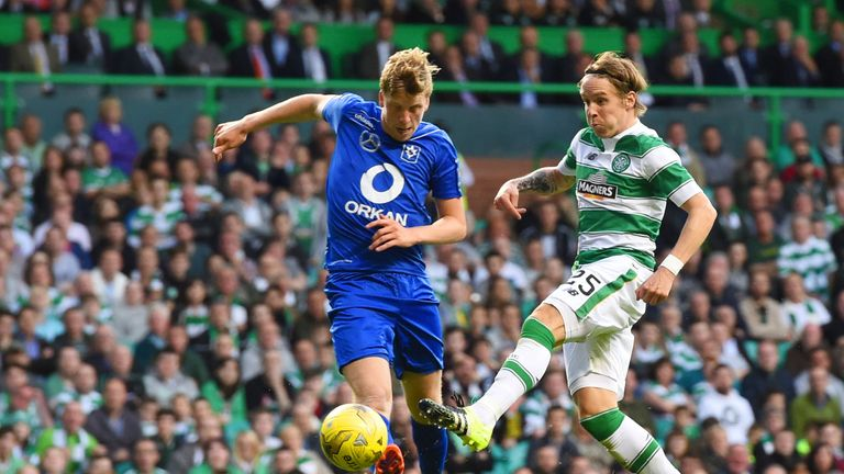 Stefan Johansen fires the ball home to double Celtic's lead