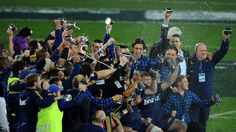 The Highlanders celebrate following the Super Rugby final