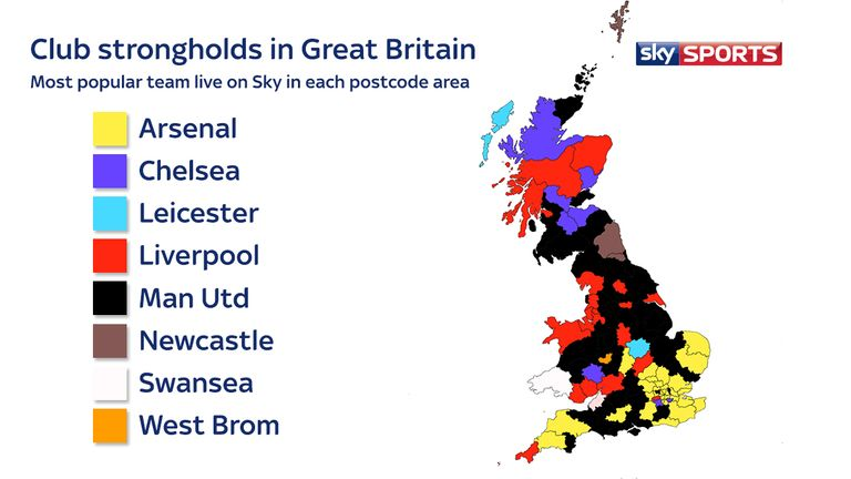 Manchester United fans are spread across the country, while Arsenal have a significant stronghold in the south-east