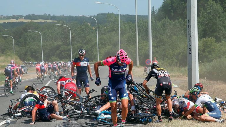 Riders were piled up behind a telegraph pole after the crash