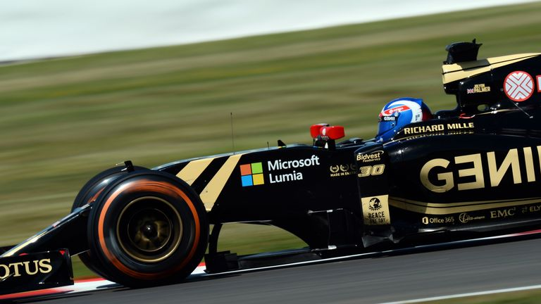 Palmer during Friday practice at Silverstone
