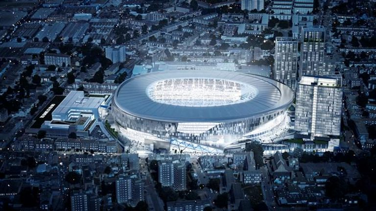 Aerial view of proposed new Spurs stadium. Image courtesy of Tottenham Hotspur
