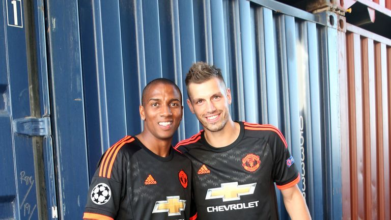 4dc009699 Ashley Young and Morgan Schneiderlin pose at the official Manchester United  kit launch in Marseille