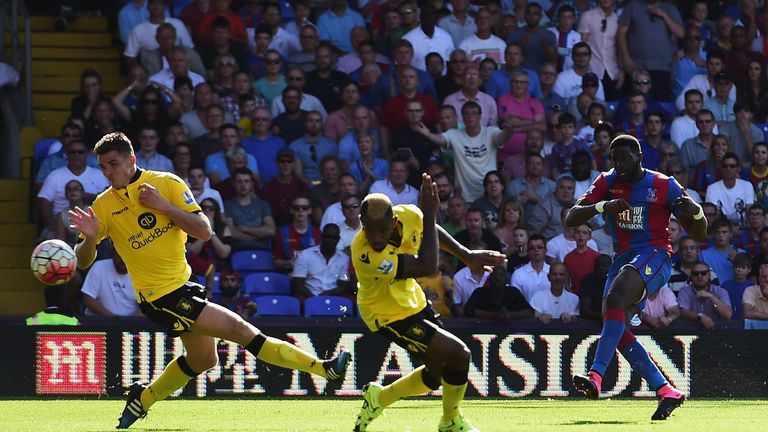 Bakary Sako scores Crystal Palace's winning goal against Aston Villa