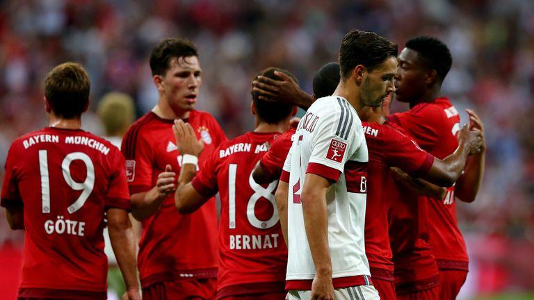 Bayern Munich players celebrate against AC Milan