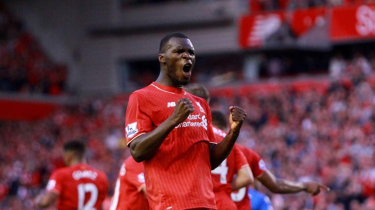 Liverpool's Christian Benteke celebrates scoring the opening goal against Bournemouth.