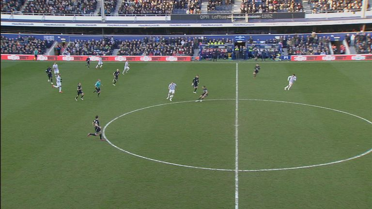 QPR's Charlie Austin (right) starts in an offside position and eventually runs to the near touchline without being penalised at any point