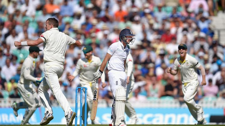 Adam Lyth departs after falling to Peter Siddle