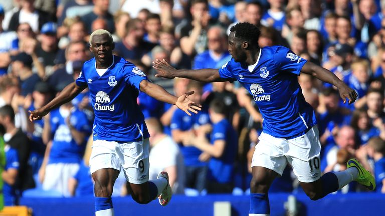 Everton's Arouna Kone (left) celebrates with Romelu Lukaku after rescuing a late point against Watford