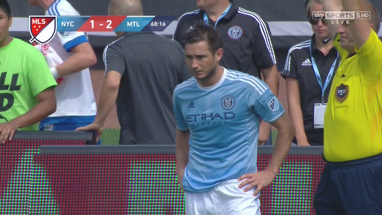 Frank Lampard enters the field to make his New York City FC debut