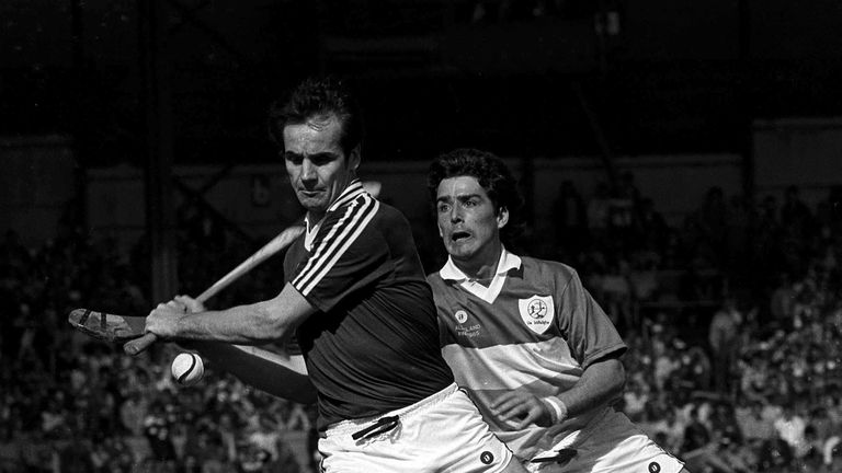 Brendan Lynskey is challenged by Tom Conneelly during the 1985 All-Ireland final between Galway and Offaly