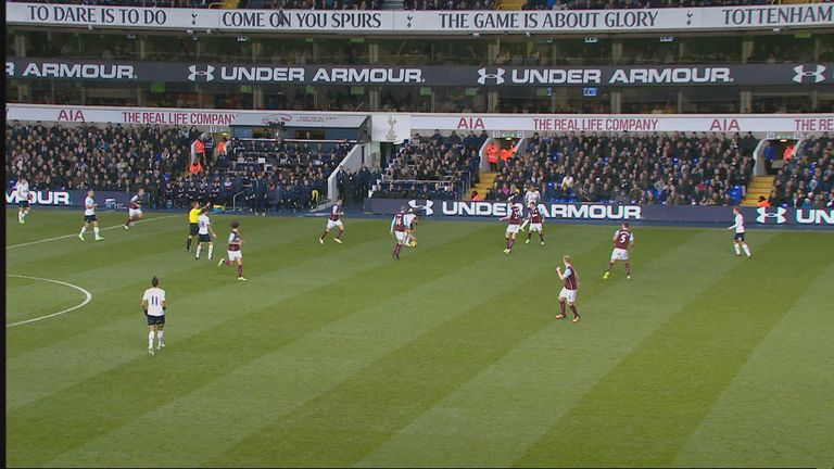 Christian Eriksen (right) is in an offside position as Harry Kane takes a free kick but makes no attempt to play the ball